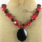 NATURAL BLACK AGATE RED SPONGE CORAL NECKLACE