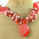 PINK FIRE AGATE QUARTZ PEARL NECKLACE