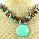 TURQUOISE & TIGER EYE & FW PEARL NECKLACE