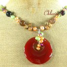 RED CARNELIAN & PICTURE JASPER & PEARL NECKLACE