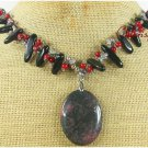 RHODONITE & BLACK AGATE & RED CORAL NECKLACE