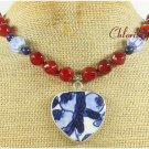 POTTERY SHARD & RED CARNELIAN NECKLACE