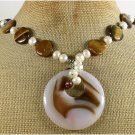 BRAZILIAN AGATE TIGER EYE FW PEARL NECKLACE
