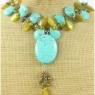 TURQUOISE & GOLDEN CAT EYE & FW PEARL NECKLACE