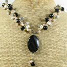 BLACK AGATE GREY JADE FRESH WATER PEARLS NECKLACE