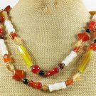 LONG! 40 RED YELLOW MILKY BLACK AGATE NECKLACE