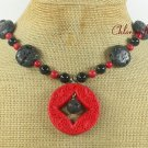 RED CINNABAR VOLCANO LAVA & RED CORAL NECKLACE