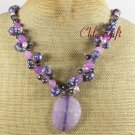 PURPLE FIRE AGATE JADE MOP FW PEARL NECKLACE