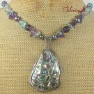 PAUA ABALONE & FLUORITE & FW PEARL NECKLACE