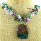 FANCY JASPER MOSS AGATE JADE PEARL NECKLACE
