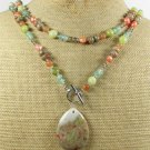 ABALONE CROSS & FLUORITE & CITRINE & PEARLS NECKLACE