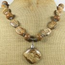 NATURAL PICTURE JASPER WOOD JASPER NECKLACE