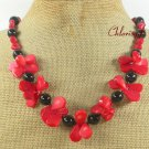 RED CORAL & BLACK AGATE NECKLACE