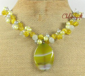 YELLOW AGATE & CAT EYE & FRESH WATER PEARLS NECKLACE