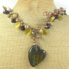 TIGER EYE BLACK AGATE CAT EYE JASPER PEARLS NECKLACE