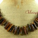 TIGER EYE & PICTURE JASPER & WOOD JASPER NECKLACE