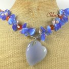 GREY BLUE RED AGATE & FRESH WATER PEARLS NECKLACE