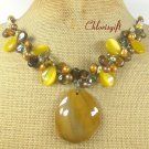 YELLOW AGATE TIGER EYE CAT EYE PEARL NECKLACE
