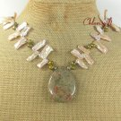 AUTUMN JASPER & FRESH WATER PEARLS NECKLACE