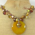 YELLOW AGATE BROWN AGATE CRYSTAL PEARLS NECKLACE