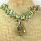 RHYOLITE & TURQUOISE & YELLOW JADE & PEARL NECKLACE