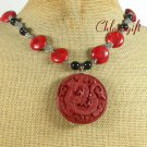BROWN CINNABAR BLACK AGATE RED CORAL NECKLACE