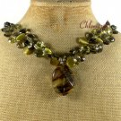 TIGER QUARTZ CAT EYE CRYSTAL PEARLS NECKLACE
