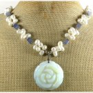 OPALITE ROSE BLUE AGATE FRESH WATER PEARLS NECKLACE
