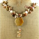 YELLOW JADE FOSSIL AGATE TIGER EYE PEARLS NECKLACE