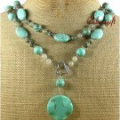 LONG! 40inch TURQUOISE RUTILATED JASPER NECKLACE