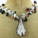 FLOWER LAMPWORK BLACK AGATE CAT EYE PEARLS NECKLACE