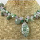 20 inch LOTUS JASPER & LAVENDER GREEN JADE & PEARL NECKLACE