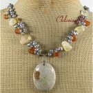 FOSSIL AGATE RED AGATE CITRINE FW PEARLS NECKLACE