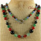 LONG! 40 RED BLACK BLUE GREEN AGATE NECKLACE