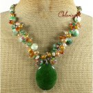 GREEN JADE CANDY JADE AGATE FW PEARL NECKLACE