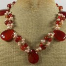 RED CARNELIAN & FRESH WATER PEARLS NECKLACE