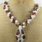MURANO GLASS & WHITE JADE & CRYSTAL & PEARL NECKLACE