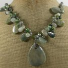 RHYOLITE & GREEN RUTILATED JASPER & FW PEARL NECKLACE