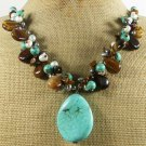 TURQUOISE & TIGER EYE & FRESH WATER PEARLS NECKLACE
