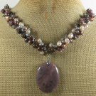 CHOCOLATE AVENTURINE RHODONITE COFFEE JASPER NECKLACE