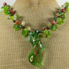 MURANO GLASS & JADE & CAT EYE & QUARTZ NECKLACE