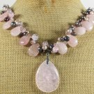 PINK QUARTZ & ROSE QUARTZ & FRESH WATER PEARLS NECKLACE