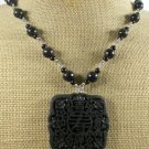 BLACK CINNABAR & AGATE & LABORADITE NECKLACE