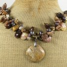 PICTURE JASPER & AGATE & FRESH WATER PEARLS NECKLACE