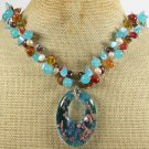 MURANO GLASS & RED AGATE & JADE & CRYSTAL NECKLACE