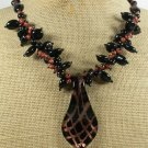 MURANO GLASS & BLACK AGATE & GOLDSTONE NECKLACE