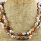 "LONG! 40"" MULTI AGATE & FRESH WATER PEARLS NECKLACE"