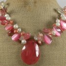 CHERRY QUARTZ PINK CAT EYE FRESH WATER PEARLS NECKLACE