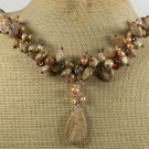 PICTURE JASPER YELLOW SMOKY CRYSTAL PEARLS NECKLACE