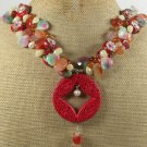 RED CINNABAR FLOWER CLOISONNE JADE AGATE NECKLACE